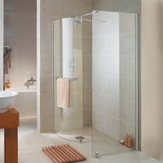 The Aquaspace Wetroom Walk In Shower by Aqualux creates a luxurious look in your bathroom.
