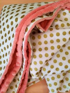 Gold dot baby blanket coral minky gold nursery by DwellDarling