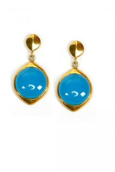 Gold plated chalcedony stone earrings