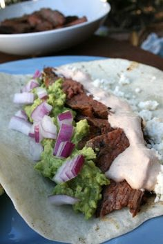 Flank Steak Tacos with Chipotle Sour Cream
