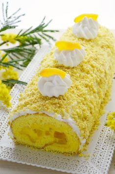 Rotolo Mimosa con Crema Pasticcera e Pesche