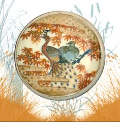 Image Copyright RC Larner ~ Huge Late 19th C. Japanese Satsuma Birds in Stylized Gold and Orange Maple Leaves  ~ R C Larner Buttons at eBay & Etsy        http://stores.ebay.com/RC-LARNER-BUTTONS and https://www.etsy.com/shop/rclarner