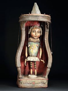 "Deborah Rogers artist, functioning marionette ""A Woman In A Box"""