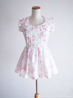 LIZ LISA Ribbon Floral pattern Carousel OP Tunic Dress Hime Lolita Kawaii Japan #LizLisa #PeplumTunic #Shibuya109Lolitafashion