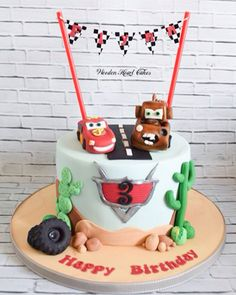 Cars cake with Lightening  McQueen and Mater