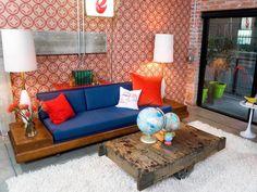 Mid-Centrury Modern Living Room with Bold Orange Wallpaper and Blue Sofa : Designers' Portfolio : HGTV - Home & Garden Television