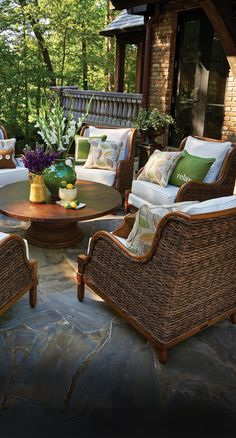 Outdoor Furniture Peak Season Beautiful And Inviting Patio E The Addition Of Accent Pillows Brings Personality