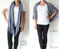 Long scarf turned shawl