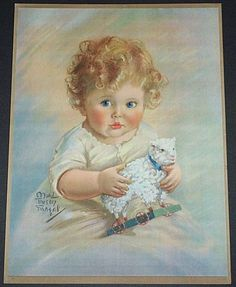 Large Baby With Lamb Toy Print by Maud Tousey Fangel