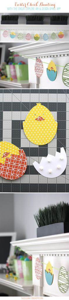 Easter Chick Bunting with Cricut Explore and Design Space App from The Celebration Shoppe