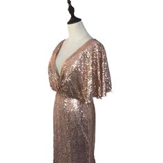 Rose Gold Deep V-Neck Backless Mermaid Sequined Bridesmaid Dress - Uniqistic.com