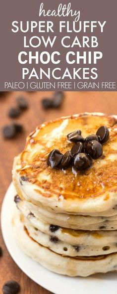 Healthy Thick and Fluffy Low Carb Pancakes with chocolate chips- Packed with…