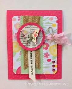 InkyPinkies: Butterfly & Blooms Birthday Card