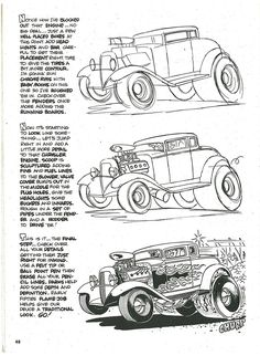 pin by jim liles on hot rod coloring pages drawings - car cartoon sketch Cartoon Car Drawing, Cartoon Drawing Tutorial, Cartoon Sketches, Cartoon Art, Cars Cartoon, Cool Car Drawings, Trippy Drawings, Hot Rod Tattoo, Cartoons Magazine