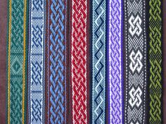 Variations on the Celtic Knot pickup pattern woven by Annie MacHale. This blog post has a link to a good resource for learning pickup patterns.