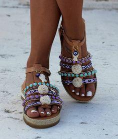 "Anti slippery sandals, Handmade gladiator sandals, Artisanal sandals, Greek leather sandals, ""Isla"""