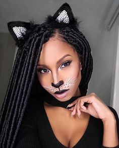 So I filmed a get ready with me video alongside my sister. Not sure if Im going to post it though, because she completely ruined her clown makeup Anyhuuu. Heres a photo of my sexy cat halloween look. Its a good look for celebrating Halloween on a budge Girl Halloween Makeup, Pretty Halloween, Clown Makeup, Costume Makeup, Party Makeup, Halloween Make Up, Makeup Geek, Makeup Art, Black Cat Makeup