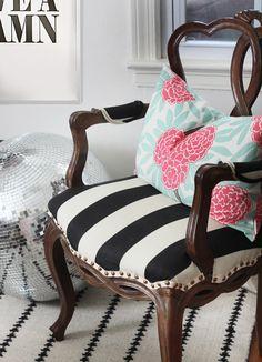 Caitlin Wilson Pillow / Black  white Striped Chair / Disco Ball