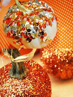 sequined-and-glittered-pumpkins