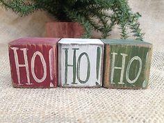 Primitive Americana HO! HO! HO! Christmas Shelf Sitter Cube Wood Blocks