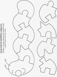 Worm puzzle quiet book page Quiet Book Templates, Quiet Book Patterns, Felt Patterns, Scroll Saw Patterns, Scroll Templates, Printable Templates, Templates Free, Felt Crafts, Diy And Crafts