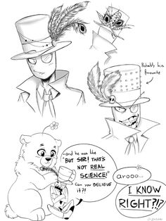 Headcanon: Black Hat goes to 5.0.5 to rant and lets him decorate his hat with feathers and flowers (he won't admit it but he really enjoys it and is glad that the failed experiment has some usefull talents)