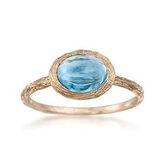 1.40 ct. t.w. Cabochon Blue Topaz Rings In 14kt Yellow Gold