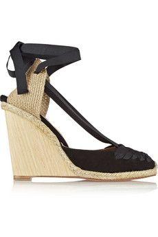 Aquazzura - Malibu suede and grosgrain wedge espadrilles Malibu, Walk In My Shoes, Aquazzura, European Fashion, I Love Fashion, Beautiful Shoes, Wedge Heels, Black Suede, Footwear