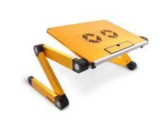 Lavolta Support Table de Lit Pliable Inclinable pour PC Ordinateur Portable avec Refroidisseur - 2x Ventilateurs - Jaune: Amazon.fr: Informatique