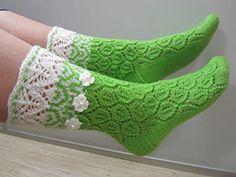 Ravelry: Helmike pattern by Helle-Mari Laid Christmas Gift Baskets, Lace Cuffs, Pink Socks, Pretty Shirts, Knitting Socks, Leg Warmers, Ravelry, Knitting Patterns, White Flowers
