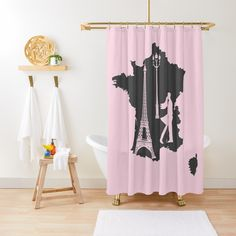 """Map of France with Eiffel tower French famous landmark Trendy Graphic Aesthetic"" Shower Curtain by mashmosh 