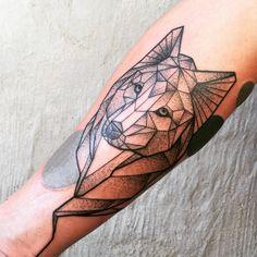 Geometric Wolf Line work and dot work tattoo