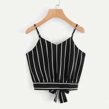 63e2d7d85ce1 Tank Top Summer Tie Back V Neck Striped Crop Top 2018 Cotton Blended Fashion  Tops Women s Clothing Camisole 18JUN13 PTC 505