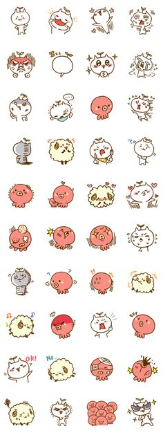 – LINE stickers Cute Animal Drawings, Kawaii Drawings, Cartoon Drawings, Cartoon Art, Cute Cartoon, Cute Drawings, Kawaii Doodles, Cute Doodles, Kawaii Art