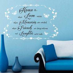 Pared calcomanías citas Home es donde el amor reside recuerdos se crean amigos…