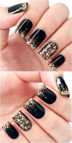 Black Gold Nails Black and gold glitter - Top 100 Most-Creative Acrylic Nail Art Black Gold Nails, Black Acrylic Nails, Acrylic Nail Art, Acrylic Nail Designs, Nail Art Designs, Nails Design, Acrylic Colors, Black Nails Short, New Years Nail Designs