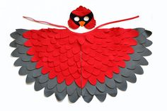 Red cardinal costume for kids. Halloween red cardinal costume for toddlers. Red cardinal costume for Christmas school plays and other activities for kids.