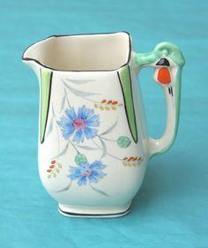 Vintage Burleigh Ware 1930 s Art Deco milk/cream jug  Cornflower  pattern