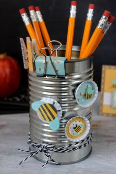 Tin Can turned into a Teacher Supply Holder  {ribbonsandglue.com}