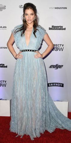 Barbara Palvin was pure radiance in this princess-worthy gown featuring rivers of tulle and a darling waist band pearled with white detailing. Look of the Day - Barbara Palvin from InStyle.com