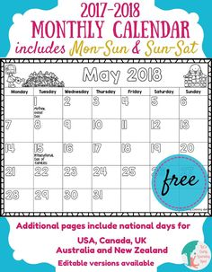 Here's a free 2017-2018 monthly calendar for kids!