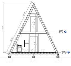 A Frame Cabin Plans, Cabin Floor Plans, Tiny House Cabin, Tiny House Plans, Tiny Houses, Vintage Cabin, Custom Home Plans, Decks And Porches, Vintage Design