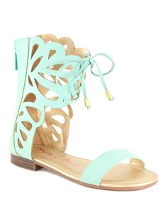 Take a look at this Mint Green Faux Suede Fantacy Gladiator Sandal on zulily today!