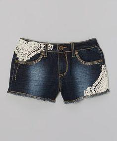 Another great find on #zulily! Dark Wash Lace Denim Shorts - Girls #zulilyfinds