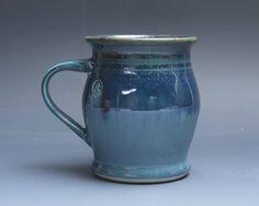 Pottery coffee mug, ceramic mug, stoneware tea cup deep blue 16 oz 3880 by BlueParrotPots on Etsy
