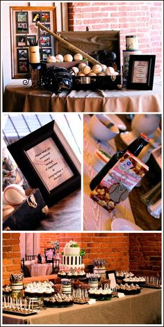 Real Party: Vintage Baseball Wedding Okay - so the display is just great - I have one old baseball - lol! I also have trunks if you want to do this! This cracker jack idea with the rootbeer (or coke) is super cute too! and good idea to frame maybe memor Softball Party, Baseball Birthday, Softball Wedding, Geek Birthday, Softball Mom, 2nd Birthday, Happy Birthday, Vintage Baseball Party, Vintage Party