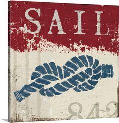 Wellington Studio Premium Thick-Wrap Canvas Wall Art Print entitled Nautical III Red, None