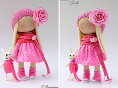 Pink rose doll Fabric doll Tilda doll by AnnKirillartPlace on Etsy