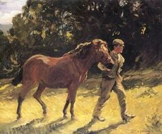 Farm Hand Leading A Pony
