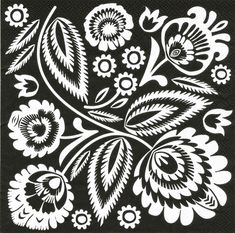"Polish Folk Art Napkins (package of 20) - 'Wycinanki Night And Day"""